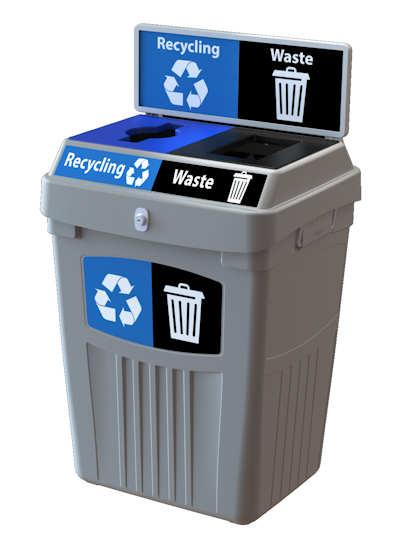 Flex E 2 Steam Recycle/Waste Grey 50 US Gallon Bin - Canada