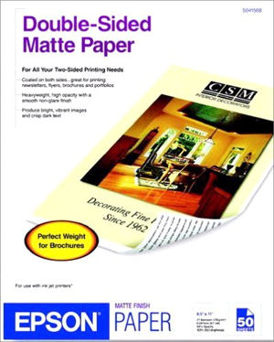 Epson Double Sided Matte Paper 8 5 Quot X 11 Quot 50 Sheets I