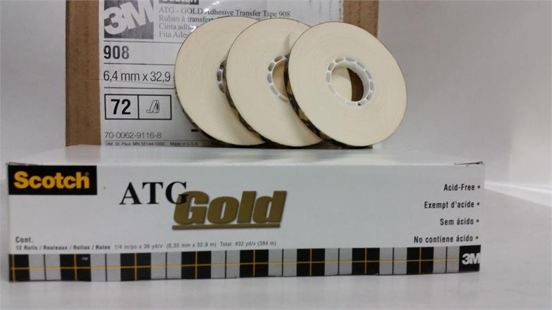 2 rolls 3M Scotch 908 Acid Free ATG GOLD 1//4 x 36yds